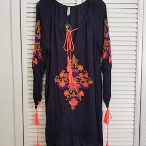 Navy Dress/cover up one size embroidered